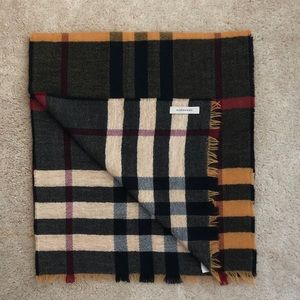 Burberry Yellow Multi Wool Reverse Check Scarf